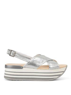 Hogan: sandals - H294 flatform silver sandals