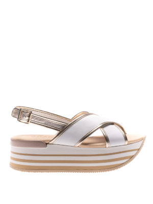 Hogan: sandals - H294 two-tone leather sandals