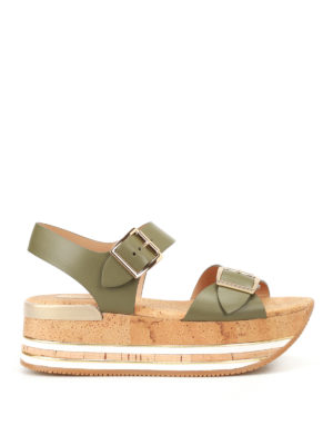 Hogan: sandals - H354 cork platform leather sandals