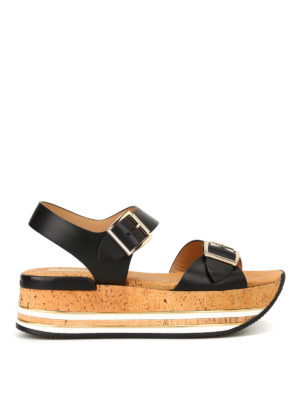Hogan: sandals - H354 platform black sandals