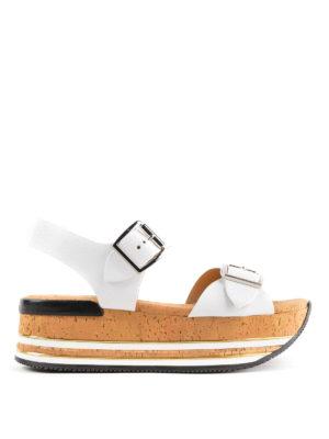 HOGAN: sandali - Sandali bianchi H354 con plateau