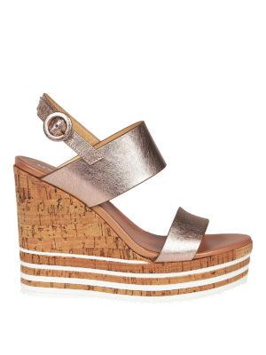 HOGAN: sandali - Zeppe H361 in pelle metallizzata