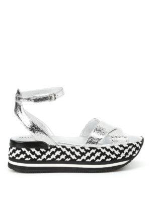 Hogan: sandals - Leather criss-cross sandals