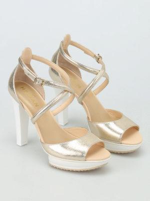 Hogan: sandals online - H247 crackled leather sandals