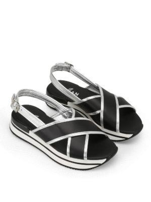 Hogan: sandals online - H257 crisscross black sandals