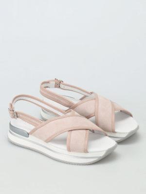 Hogan: sandals online - H257 crisscross suede sandals