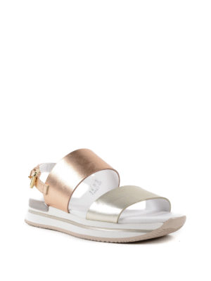 Hogan: sandals online - H257 laminated leather sandals