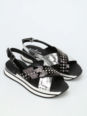 Hogan: sandals online - H257 studded sandals