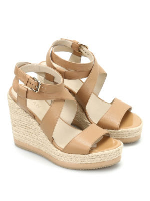 Hogan: sandals online - H286 jute wedge leather sandals