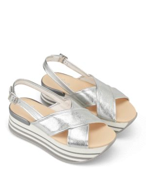 Hogan: sandals online - H294 flatform silver sandals