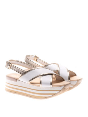 Hogan: sandals online - H294 two-tone leather sandals