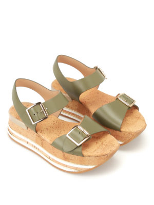 Hogan: sandals online - H354 cork platform leather sandals