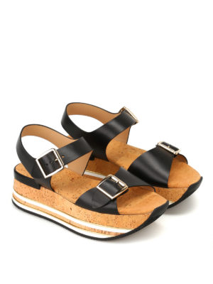 Hogan: sandals online - H354 platform black sandals