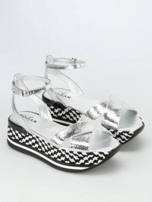 Hogan: sandals online - Leather criss-cross sandals