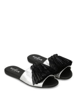 Hogan: sandals online - Valencia raffia fringed sliders