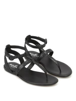 Hogan: sandals online - Valencia shiny suede thong sandals