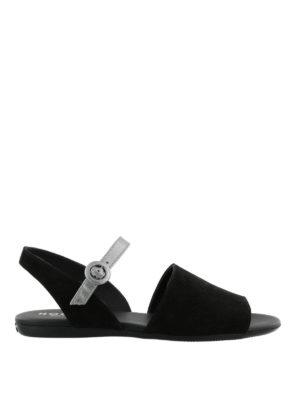 HOGAN: sandali - Sandali piatti neri e argento