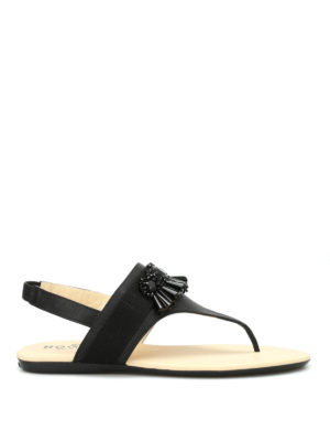 Hogan: sandals - Valencia embellished thong sandals