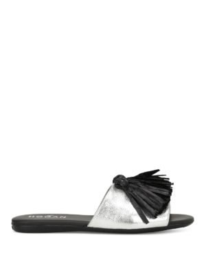 Hogan: sandals - Valencia raffia fringed sliders
