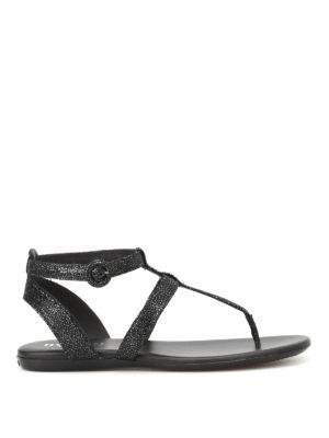 Hogan: sandals - Valencia shiny suede thong sandals