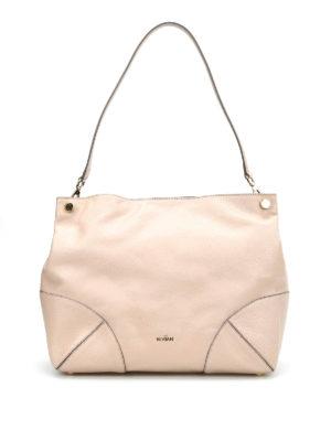 Hogan: shoulder bags - GRAINY LEATHER HOBO BAG