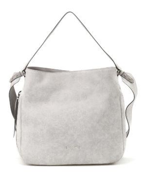 Hogan: shoulder bags - Grey shiny suede hobo bag