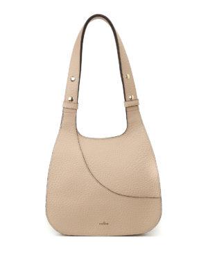 Hogan: shoulder bags - Hammered beige leather hobo bag
