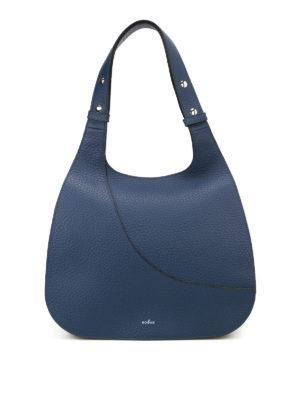 Hogan: shoulder bags - Hammered blue leather hobo bag