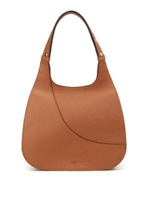 Hogan: shoulder bags - Hammered brown leather hobo bag