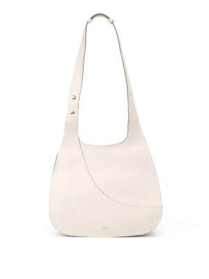 Hogan: shoulder bags - Hammered white leather hobo bag