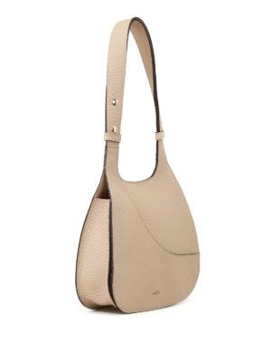 Hogan: shoulder bags online - Hammered beige leather hobo bag