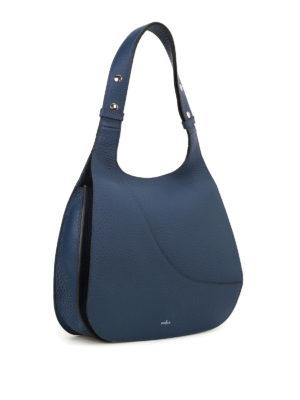 Hogan: shoulder bags online - Hammered blue leather hobo bag