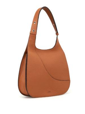 Hogan: shoulder bags online - Hammered brown leather hobo bag