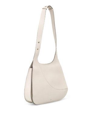 Hogan: shoulder bags online - Hammered white leather hobo bag
