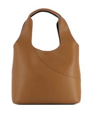 Hogan: shoulder bags - Smooth brown leather shoulder bag