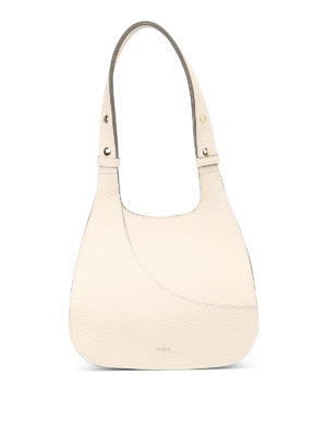 HOGAN: borse a spalla - Borsa hobo bianca in pelle a grana