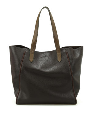 Hogan: totes bags - Brown hammered leather tote