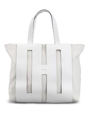 HOGAN  shopper - Shopper in canvas con H cut out in pelle db76318c0cb