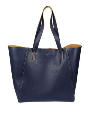 Hogan: totes bags - Dark blue leather shopping bag