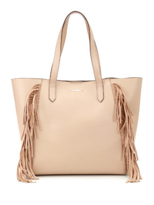 Hogan: totes bags - Leather tote with suede fringes