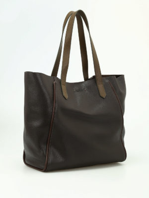 Hogan: totes bags online - Brown hammered leather tote