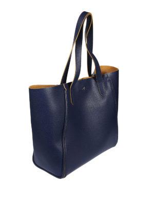Hogan: totes bags online - Dark blue leather shopping bag
