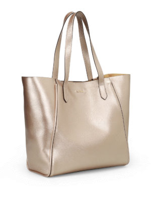 Hogan: totes bags online - Hammered metallic leather tote