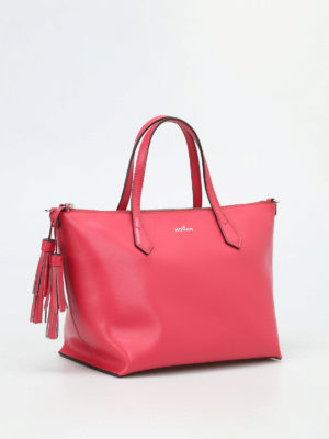 Hogan: totes bags online - Leather top zip small tote