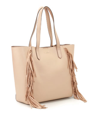 Hogan: totes bags online - Leather tote with suede fringes