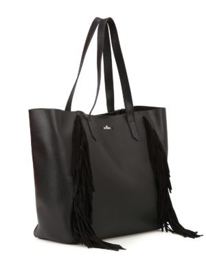 Hogan: totes bags online - Suede fringed leather tote