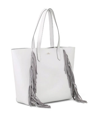 Hogan: totes bags online - White tote with suede fringes