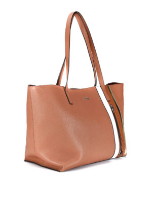 Hogan: totes bags online - Zip detail hammered leather tote