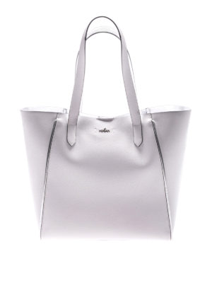 Hogan: totes bags - White leather shopping bag