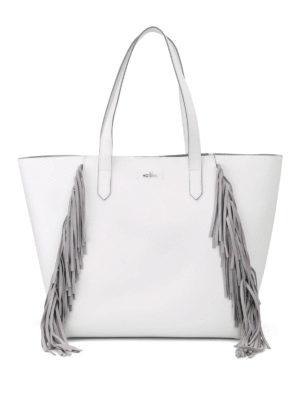 Hogan: totes bags - White tote with suede fringes